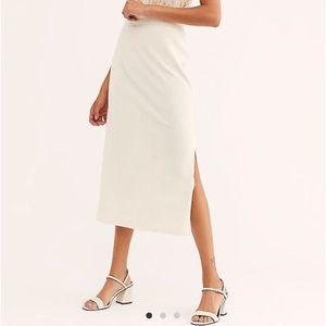 NWT Free People Helen Ribbed Column Midi Skirt